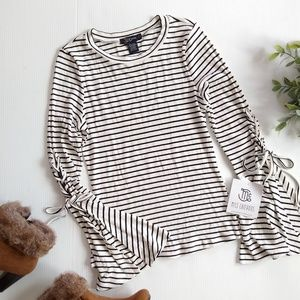 Miss Chievious • black striped bell sleeve tee